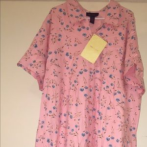 NWT Denim and Company Pink floral Twill Dress 3X